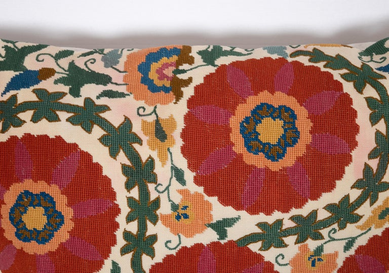 Balkan Pillow Case Made from an Early 20th Century Eastern European Embroidered Panel For Sale