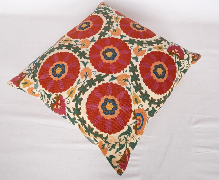 Silk Pillow Case Made from an Early 20th Century Eastern European Embroidered Panel For Sale