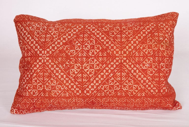 Pillow Case Made from an Early 20th Century Fez Embroidery from Morocco In Good Condition For Sale In Istanbul, TR