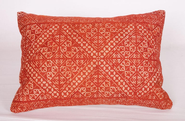 Silk Pillow Case Made from an Early 20th Century Fez Embroidery from Morocco For Sale