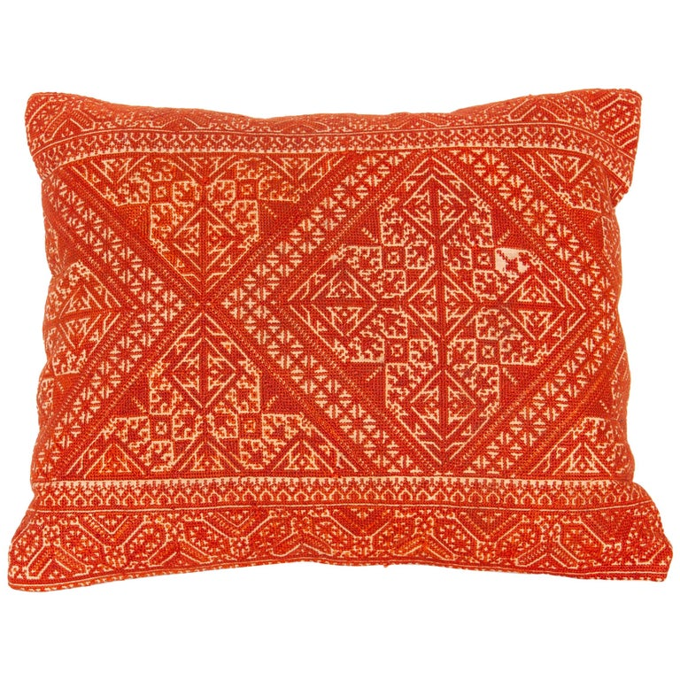 Pillow Case Made from an Early 20th Century Fez Embroidery from Morocco For Sale