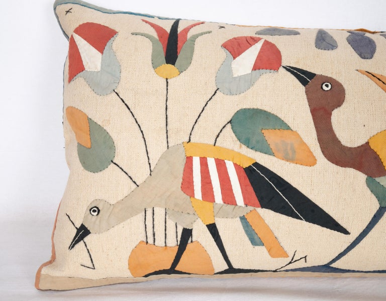 Tribal Pillow Case Made from an Egyptian Applique 'Khayamiya' Panel, Late 20th Century For Sale