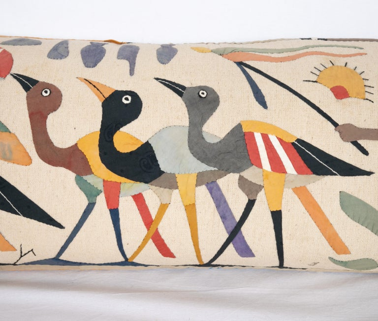 Appliqué Pillow Case Made from an Egyptian Applique 'Khayamiya' Panel, Late 20th Century For Sale
