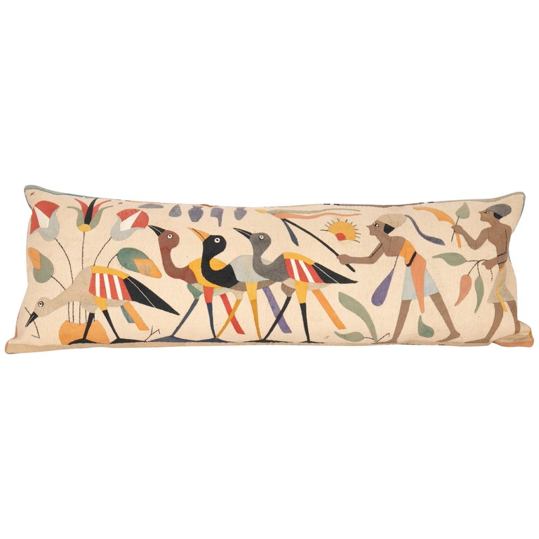 Pillow Case Made from an Egyptian Applique 'Khayamiya' Panel, Late 20th Century For Sale