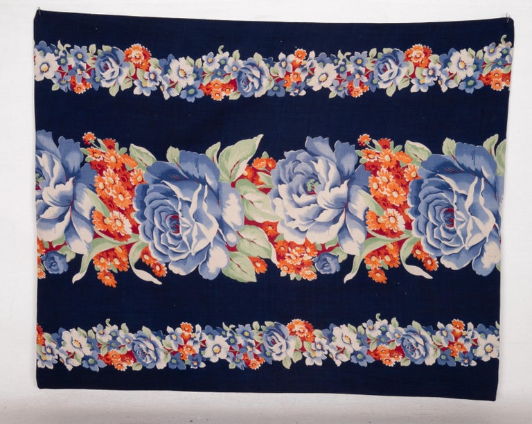 Pillow Case Made from Mid-20th Century Russian Cotton Printed Textile, 1960s For Sale 1