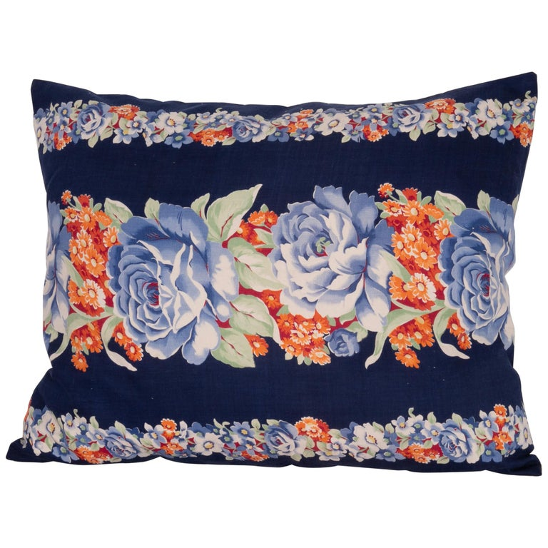 Pillow Case Made from Mid-20th Century Russian Cotton Printed Textile, 1960s For Sale