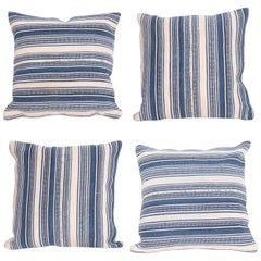 Pillow Cases Fashioned from an Early 20th Century Indigo Cotton Jajim