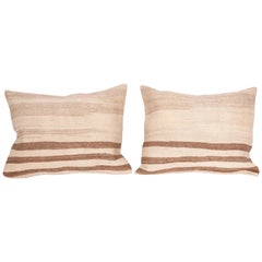 Pillow Cases Fashioned from a Mid-20th Century Anatolian Neutral Kilim