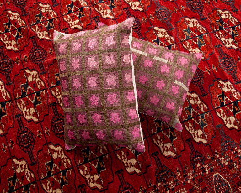 Pillow Cases Fashioned from a Mid-20th Century Tashkent Suzani, Uzbekistan For Sale 5