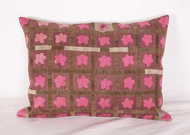Silk Pillow Cases Fashioned from a Mid-20th Century Tashkent Suzani, Uzbekistan For Sale