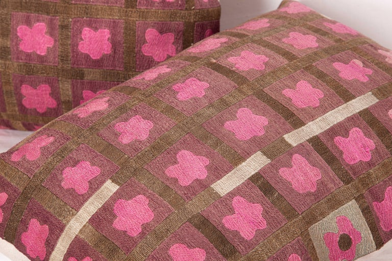 Pillow Cases Fashioned from a Mid-20th Century Tashkent Suzani, Uzbekistan For Sale 1