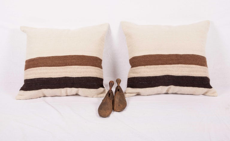 Kilim Pillow Cases Fashioned from a Mid-20th Century Anatolian Angora Siirt Blanket For Sale