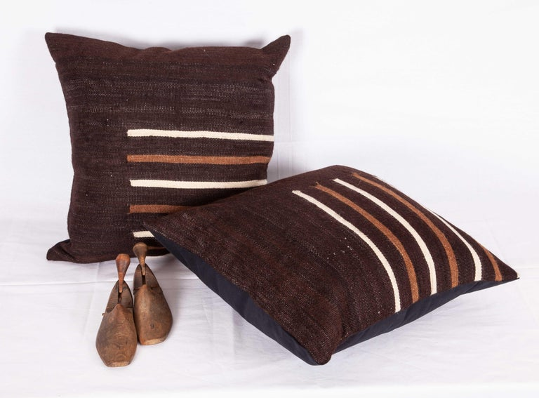 Turkish Pillow Cases Fashioned from a Mid-20th Century Anatolian Angora Siirt Blanket For Sale