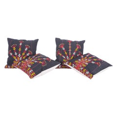 Pillow Cases Fashioned from a Turkmen Tekke Tribe Embroidered Silk Coat