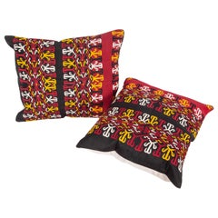 Pillow Cases Fashioned from a Turkmen Tekke Tribe Embroidered Silk Coat M