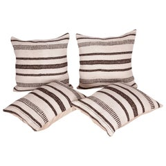 Pillow Cases Fashioned from a Vintage Hemp and Goat Hair Mix Anatolian Kilim