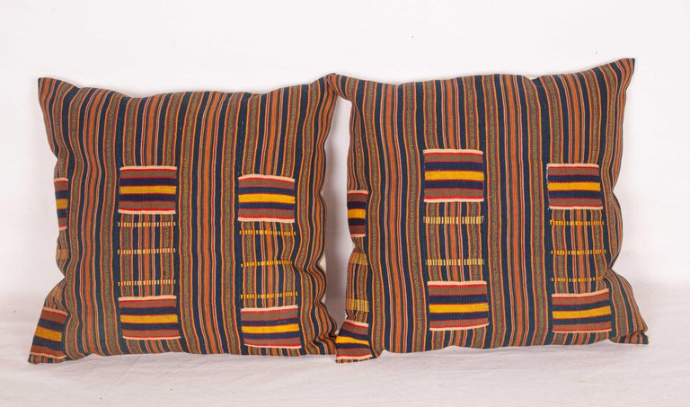 Tribal Pillow Cases Fashioned from African Kente Cloth, First Half of the 20th Century For Sale