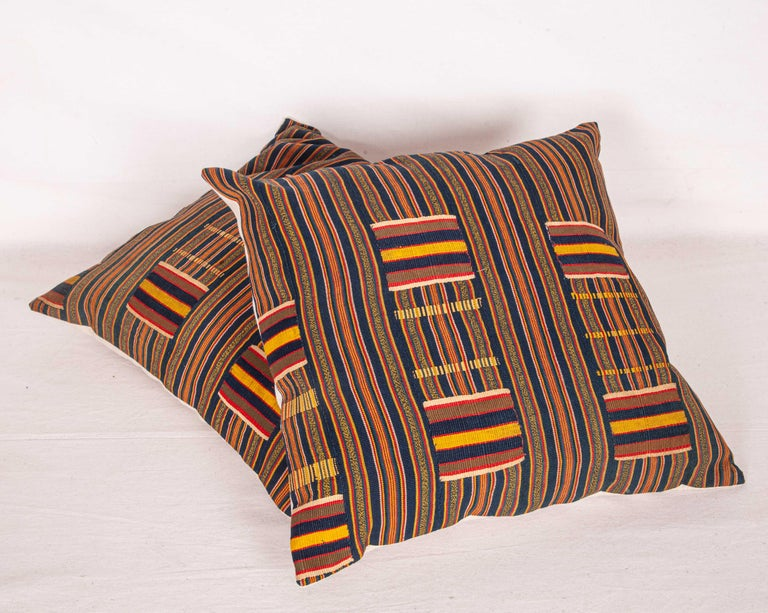 Pillow Cases Fashioned from African Kente Cloth, First Half of the 20th Century In Good Condition For Sale In Istanbul, TR
