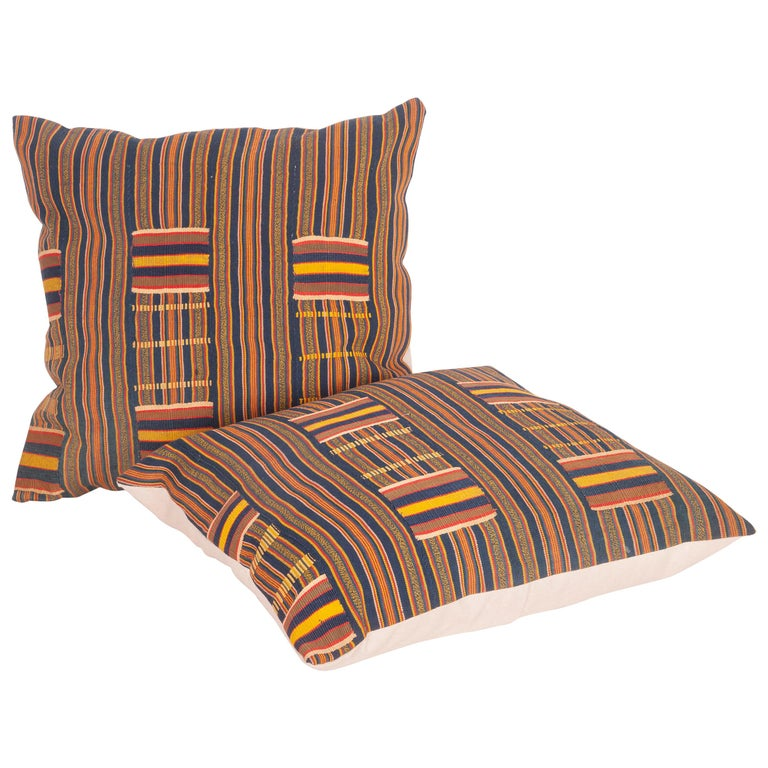 Pillow Cases Fashioned from African Kente Cloth, First Half of the 20th Century For Sale