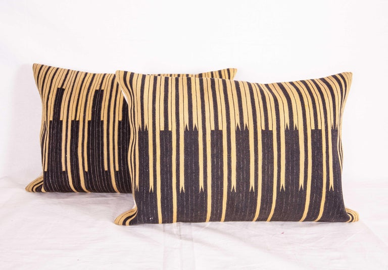 Hand-Woven Pillow Cases Fashioned from an Old Indigo Kilim, Mid-20th Century For Sale