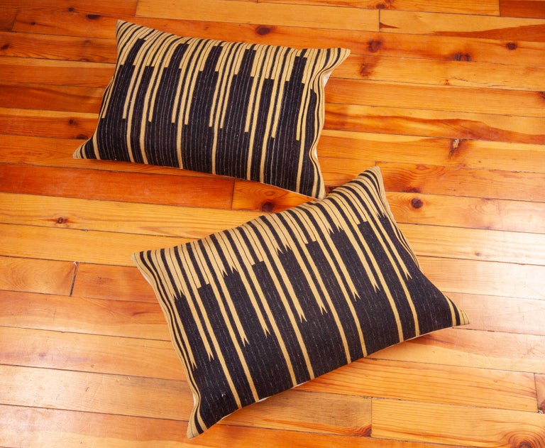 Wool Pillow Cases Fashioned from an Old Indigo Kilim, Mid-20th Century For Sale