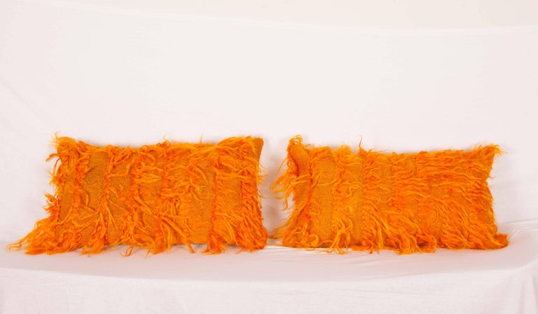 Pillow cases are made from vintage (mid-20th century) Angora, (Mohair) rugs called ' Filikli'. The backing is made from vintage handwoven wool and cotton mix Anatolian textiles. They do not come with inserts but with bags made out of plain cotton
