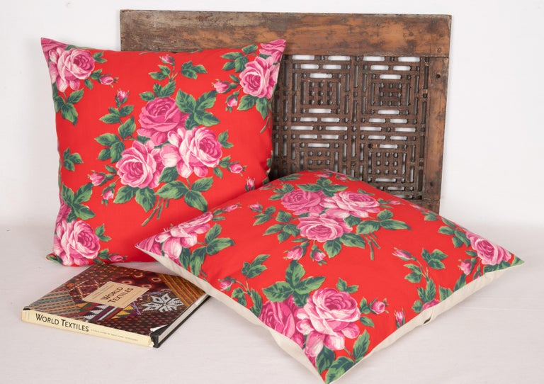 Mid-Century Modern Pillow Cases Made from Mid-20th Century Russian Cotton Printed Textile, 1960s For Sale