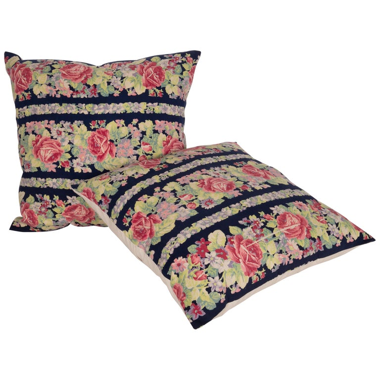 Pillow Cases Made from Mid-20th Century Russian Cotton Printed Textile, 1960s For Sale