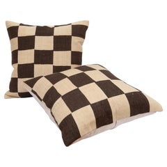 Pillow Cases With Chequers design Fashioned from a mid 20th C. Flat weave