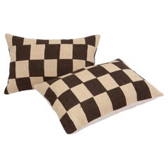 Pillow Cases with Chequers Design Fashioned from a Mid 20th C Flat Weave