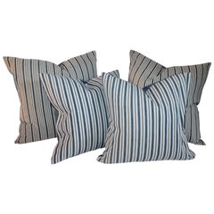 Pillow Collection of 19th Century Blue and White Ticking Pillows