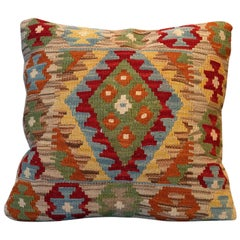 Pillow Cover, Kilim Decorative Pillow, Bench Cushion Cover Rose Cut