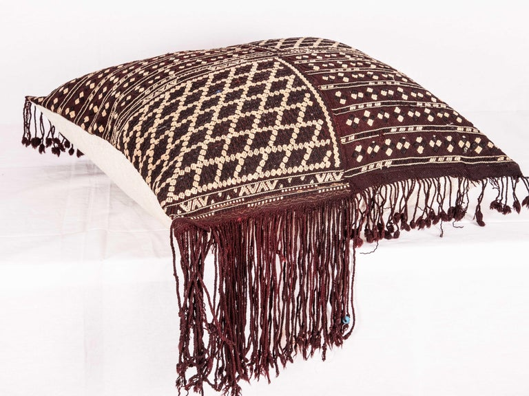 Hand-Woven Pillow Fashioned from an Early 20th Century Western Anatolaian Pomak Apron For Sale