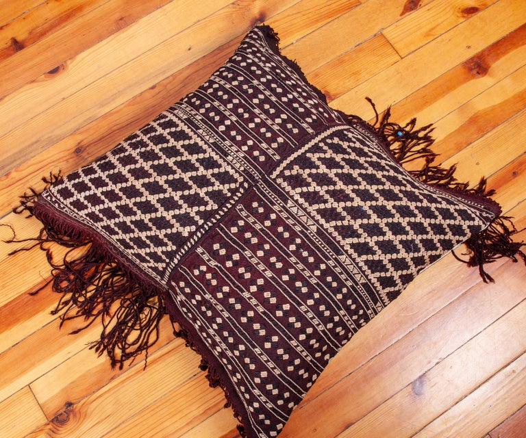 Pillow Fashioned from an Early 20th Century Western Anatolaian Pomak Apron In Good Condition For Sale In Istanbul, TR