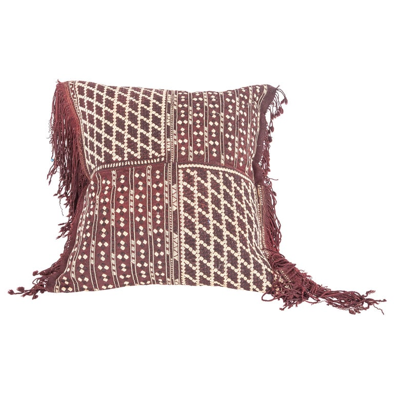 Pillow Fashioned from an Early 20th Century Western Anatolaian Pomak Apron For Sale