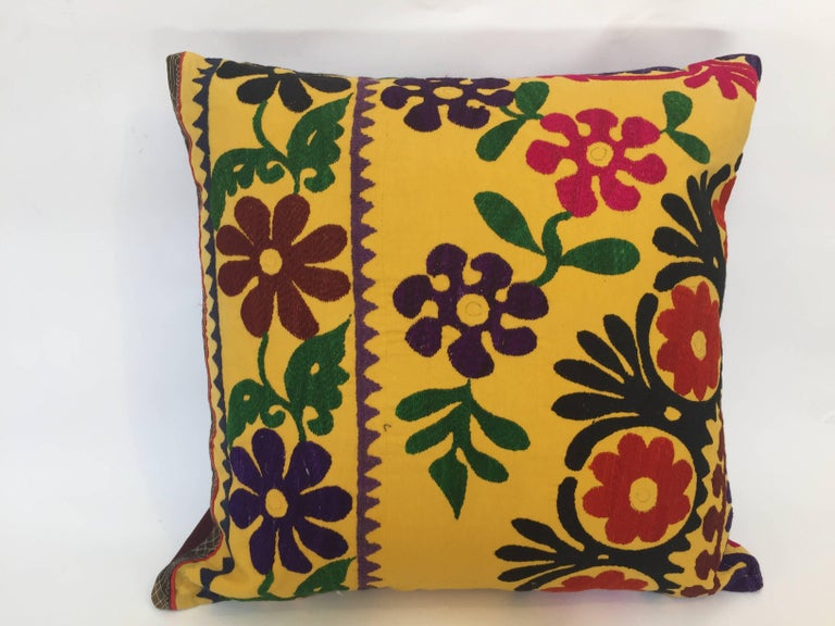 Vintage Large Yellow Suzani Embroidery Decorative Throw Pillow From