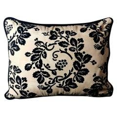 Italian Pillow Handmade in Dedar Moire' Fabric Velvet on the Back 1960s