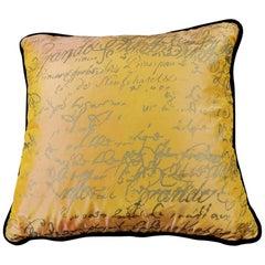 Pillow Handmade in Silk Fabric on Both Sides, Designer Carolyn Quatermaine