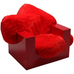 'Pillow Lounge Chair' in Red Lacquer and Faux Fur by Schimmel & Schweikle