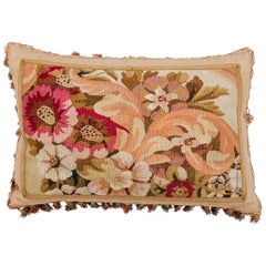 Pillow Made from a 19th Century French Tapestry with Floral Decor and Tassels