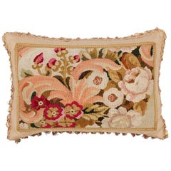 Pillow Made from a 19th Century French Tapestry with Floral Décor and Tassels