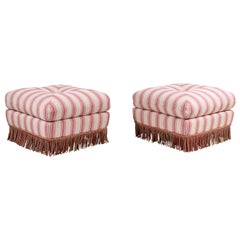Pillow Top Ottoman in Pink and Natural Striped Fabric with Fringe
