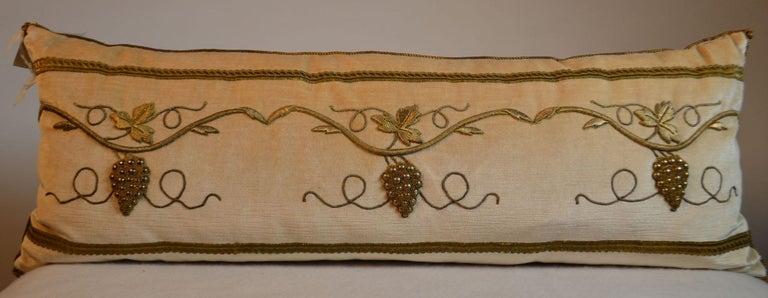 Pillow with Antique Raised Gold Metallic Embroidery In Good Condition For Sale In Vista, CA