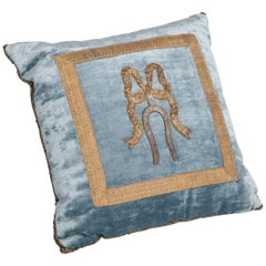 Pillow with Antique Silver and Gold Metallic Embroidery on French Blue Velvet