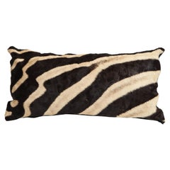 Pillow, Zebra Hide, Chocolate Brown Zebra Hide with Leather Backing, in Stock