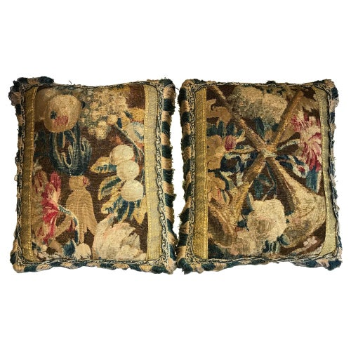 Pillows Cushions Pair Tapestry Baroque Brussels Floral Fruit Red Brown Blue Buff