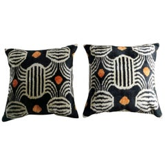 Pillows Handmade in Ikat Silk Fabric on Both Sides Uzbekistan