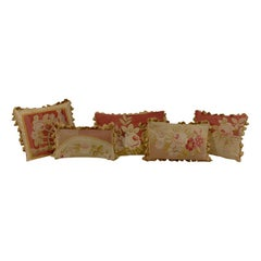 Pillows Made from 19th Century Antique French Aubusson 'Gold, Red, Beige'