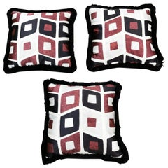 Italian Pillows Handmade In Dedar Satin Fabric And Velvet