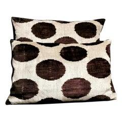 Pillows 'Set of 2 Pieces' Handmade in Ikat Fabric Uzbekistan 1990